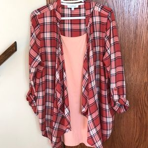 MyStyle peach plaids open rayon cardigan